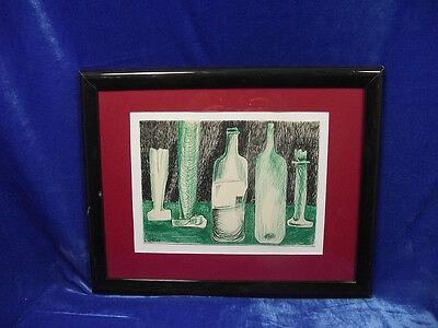 """Thilo Maatsch: """"Stilleben mit Flaschen und Gläsern"""" Zeichnung, 1965"""