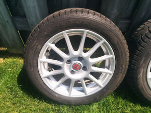 Fiat 500 snow tires and aluminum rims