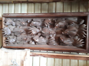 KOI FISH RELIEF- HAND CARVED -TEAK