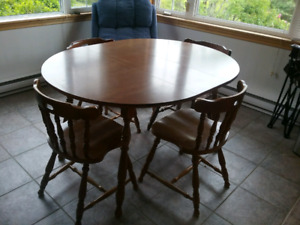 Kitchen table and four chairs, wooden