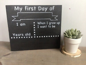 """Phoenix Timber  """"My First Day of School"""" Chalkboard Wood Sign"""
