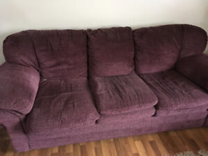 Well loved and very comfortable sofa and love seat.