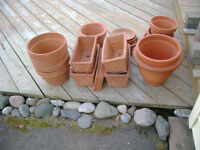 Teracotta flower pots and trays