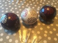 Three hand painted decorative spheres