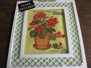 NEW Lattice Stitchery Kit - Geraniums