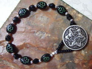 IRISH-CELTIC-Epona-Knot-HORSE-Button-BRACELET-Black-Green