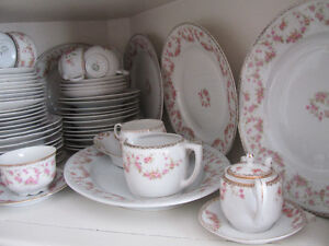 Antique Bridal Rose Dishes with additional pieces