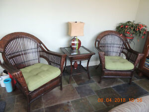 Rattan Chairs & End Table