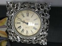 Silver Shabby Chic Wall Clock square baroque