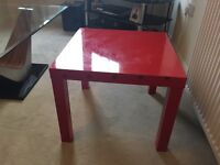 Red table with red lamp