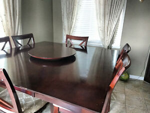 Elegant 7 peice counter height extendable wood Dining Table set