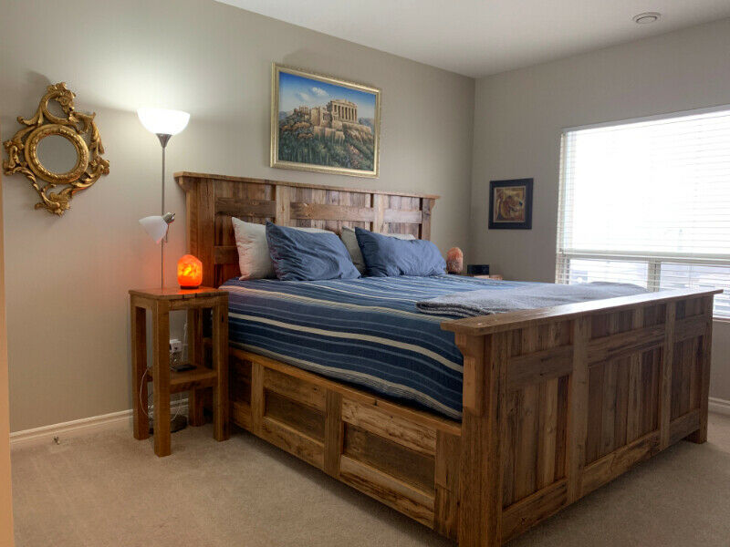 Rustic, Custom-made, Solid Barn wood King Size Bed + End ...