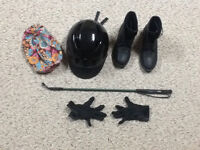 Equestrian/horseback riding helmet, boots, crop and gloves