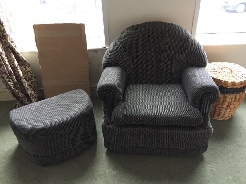 Chair and Pouffein Sheffield, South YorkshireGumtree - Chair and pouffe both matching. Black with Garry speck. Used in a bedroom so very little use. Fire resistant.Pleas note the price stated is the price required.No calls. Text initially. Thanks