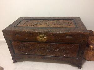 Carved wooden storage chest
