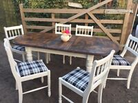 Shabby chic style farmhouse up cycled table and chairs