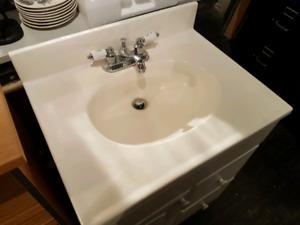 Bathroom vanity and faucet