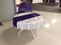 Purple and white wedding  cake table cloth