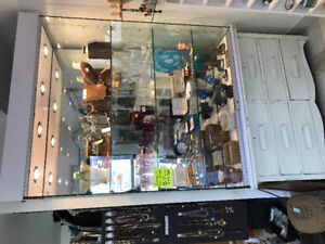 Commercial glass display case with lights/lock
