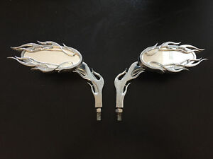 Chrome Flaming Motorcycle Mirrors