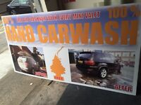 Hand car wash sign , before and after