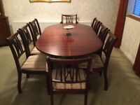 Belmont mahogany extending table and 8 chairs immaculate condition