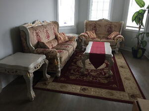 Sofa set including side tables, coffee table and rug