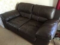 Sofas Leather Brown 3 and 2 Seater Sofa