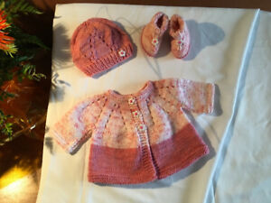 Hand Knitted Preemie to Newborn Pink Layette