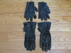Black leather gloves, gauntlets