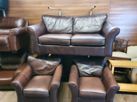22. 3+1+1 brown leather sofa with oak feet
