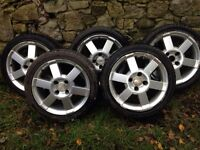 """Ford 16"""" Alloy wheels x5 with good tyres"""