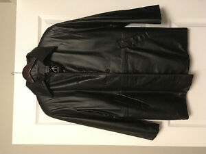 Womens Black Leather Car Coat