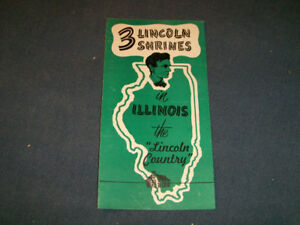 3 LINCOLN SHRINES-1950/60S ILLINOIS TOURIST BROCHURE-VINTAGE!
