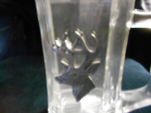 2 Glass Beer Mugs with Pewter detail