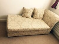 Floral 2 seater fabric chaise langue sofa bed. NO Buyers from abroad.