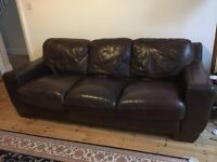 Three seater brown leather sofa VGC