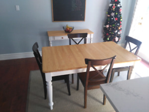 Table, chairs and side table
