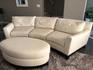 Leather couch and ottoman
