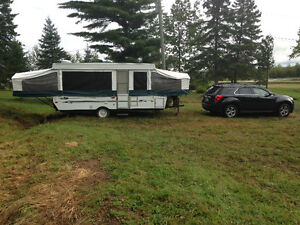 14' tent trailer w slide out dinette & washroom, tows well