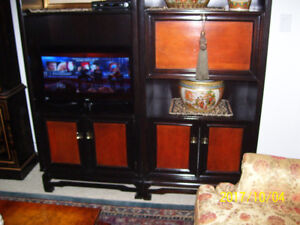 $1800 NEW - NOW ONLY $150 PAIR OF BLACK WOOD CABINETS