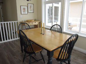 Dining table and six chairs in solid yellow birch