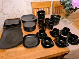 48 piece black dinner set