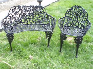 cast iron bench & chair**very ornate