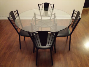 Dining Set - Amisco Glass Table with Metal Base & 4 Chairs $350