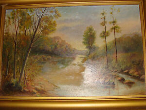 VINTAGE OIL PAINTING, Gold Frame needs Attn