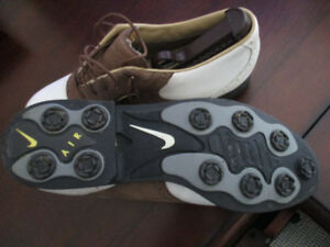 Golf Shoes 10.5 (NIKE Air)  White / Brown Leather Golf Shoes  Us