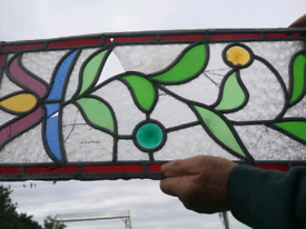 TWO VINTAGE STAINED GLASS WINDOW PANELS ** SPARES OR REPAIR **