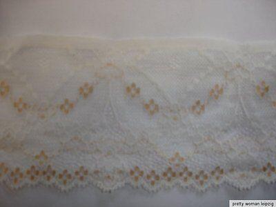 3 Lfm breite elastische Spitze 1,65€/m natur, beige Blumenmotiv 8,7cm breit TA54