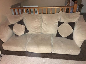 Microfibre Brown/Beige Couch and Chair